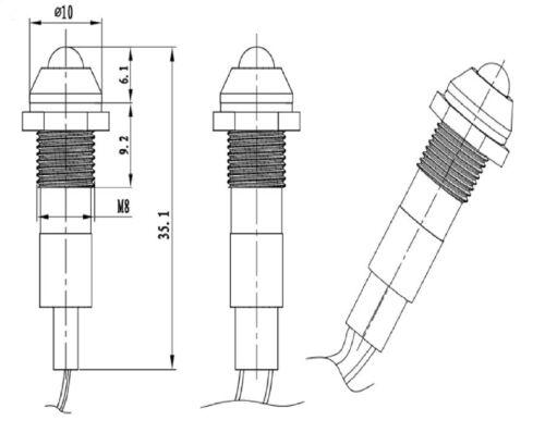 25 x SPIA LED di segnalazione ROSSO 230V 8mm metallo cromato da pannello 25Pz