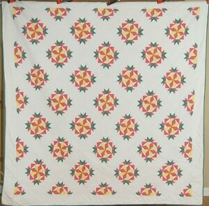 Well Quilted Vintage 30s Stars Crown Of Thorns Antique Quilt
