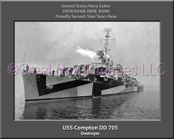 USS Compton DD 705 Personalized Canvas Ship Photo Print Navy Veteran Gift