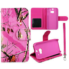 S Leather Wallet Pink Camo Mapel Msy Case for  HTC One M8 Phone Cover :