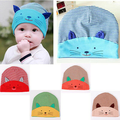 Soft Newborn Kids Cartoon Kitten Cotton Beanie Baby boys&girls Hat Cap Infant