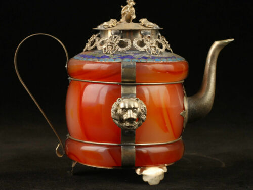 Collectible Decorated Old Handwork Jade Cloisonne Tibet Silver Dragon Tea Pot