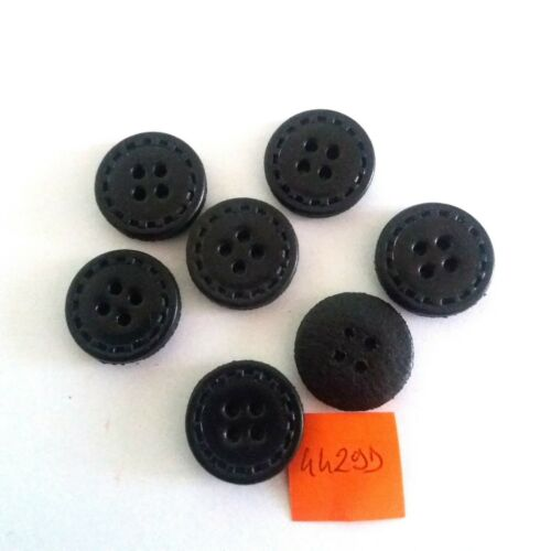7 boutons en cuir noir vintage 4429D 20mm