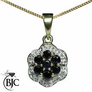 BJC-9kt-Oro-Giallo-Naturale-Zaffiro-E-Diamante-Fiore-Pendente-E-Collana-P3