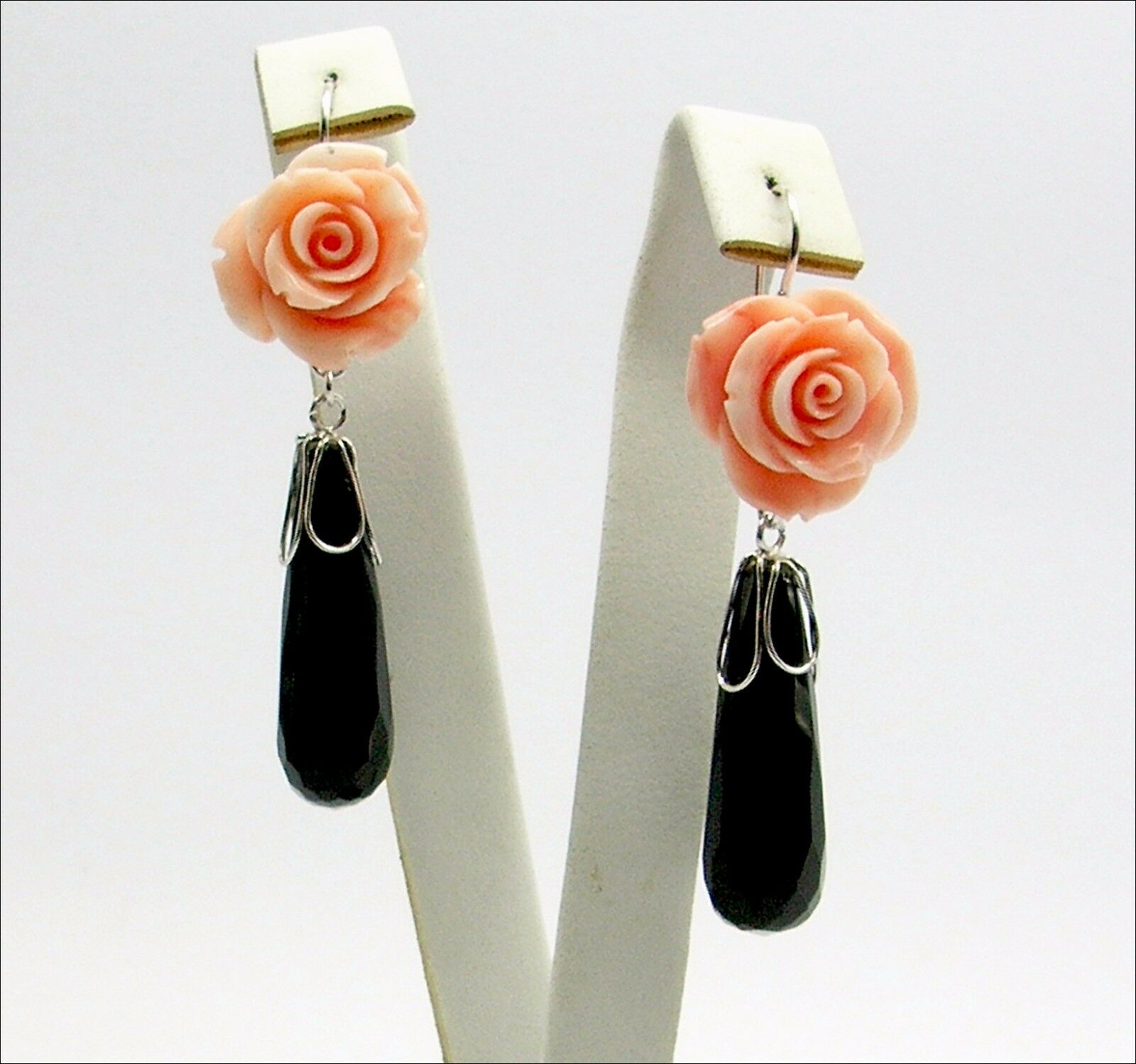 18k WHITE gold EARRINGS - PINK CORAL pinkS AND ONYX                   -OBHT 040-