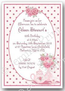 Image Is Loading Personalised Afternoon Tea Birthday Invitations Any Age Female