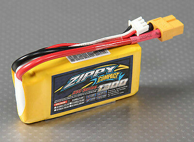 New Zippy Compact 1300mAh 2S 7.4V 25C 35C Lipo Battery Pack RC XT60 XT-60 USA