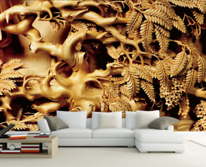 3D Leaves gold 4005 Wallpaper Murals Wall Print Wallpaper Mural AJ WALL AU Carly