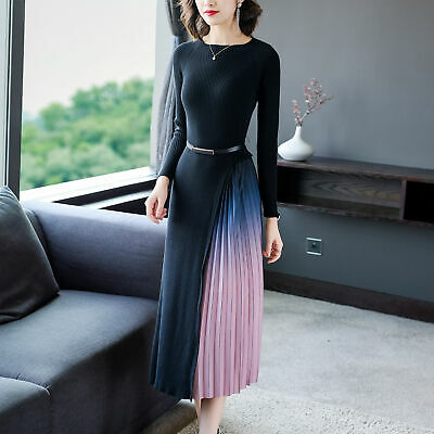 Ladies Womens Mixed Gradient Colors Pleated Knitted Sweater Dress Round Neck