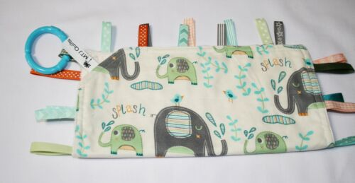 Taggie Blanket grey and green elephants  aqua with cream dimple minky backing