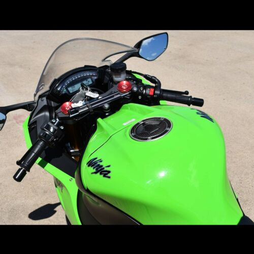 Handle Bar Yoke+Fuel//Gas Cap Cover Sticker Pad 12-17 Ninja ZX-6R Chrome Silver
