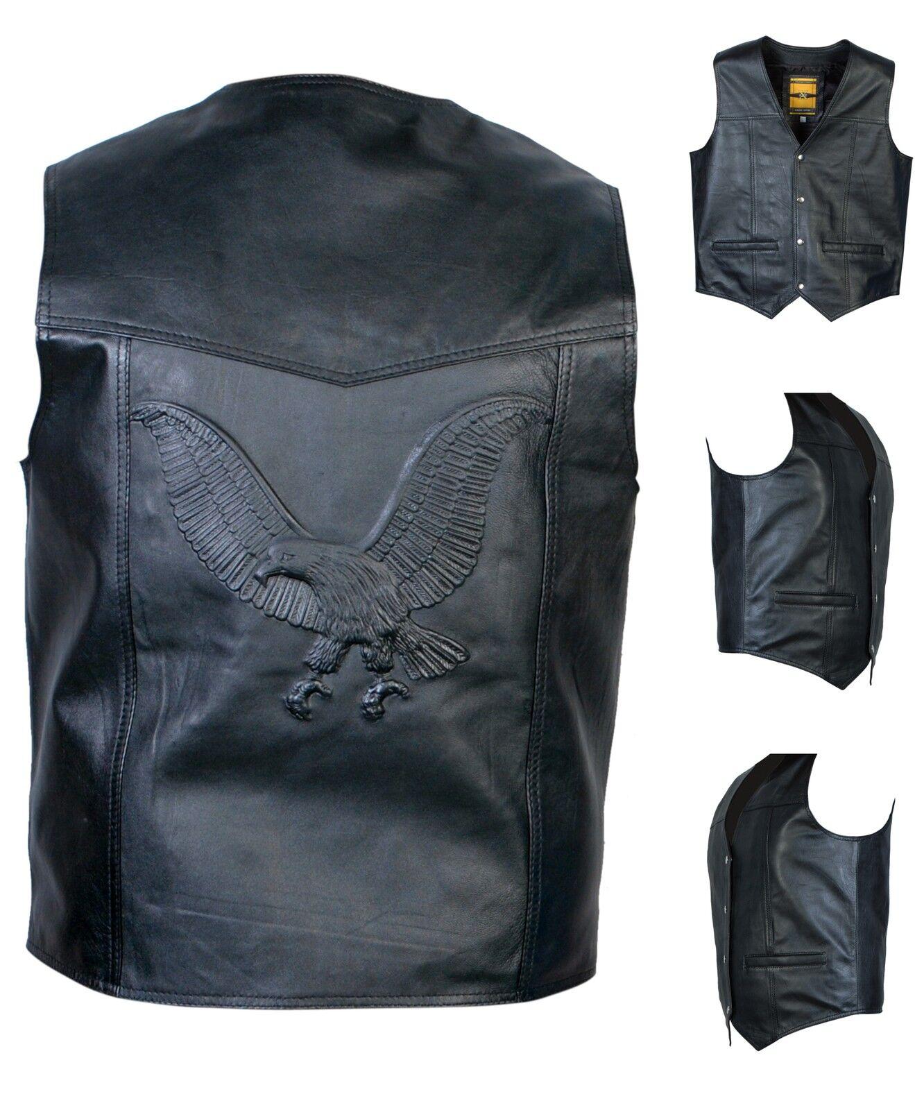 Echtleder Weste Biker Weste Motorrad black   Geprägt Eagle