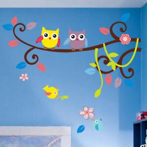 Deko-Blumen-Vogel-Eule-Natur-Wandsticker-Wandtattoo-Aufkleber-Kinder-Sticker