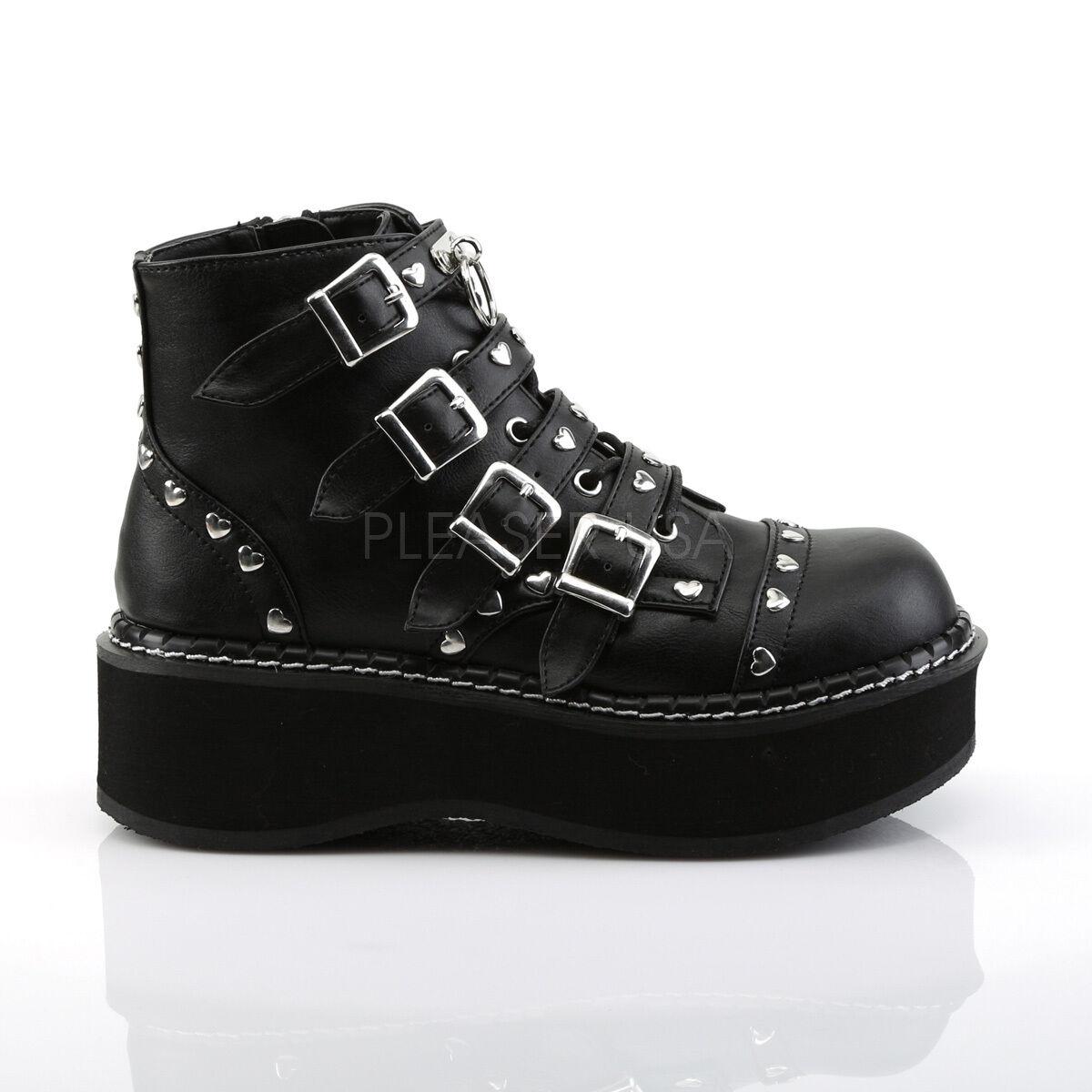 Demonia Negro Vegano Hebilla 2 Plataforma Zapatos Zapatos Plataforma Punk Goth MJ corazón con tachas 6-12 36d02d