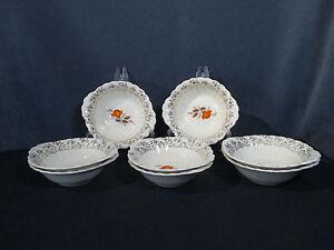 Bowls-American-Limoges-Vermillion-Rose-Vtg-Orange-Rose-Gold-Filigree-Set-of-8