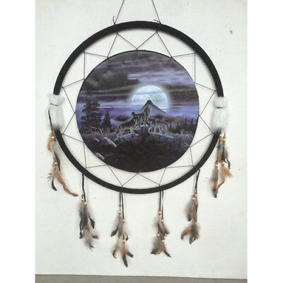 "Giant 26/"" Blue Hidden Wolves Wolf Water Rock Scene Dream Catcher Feathers 2666"