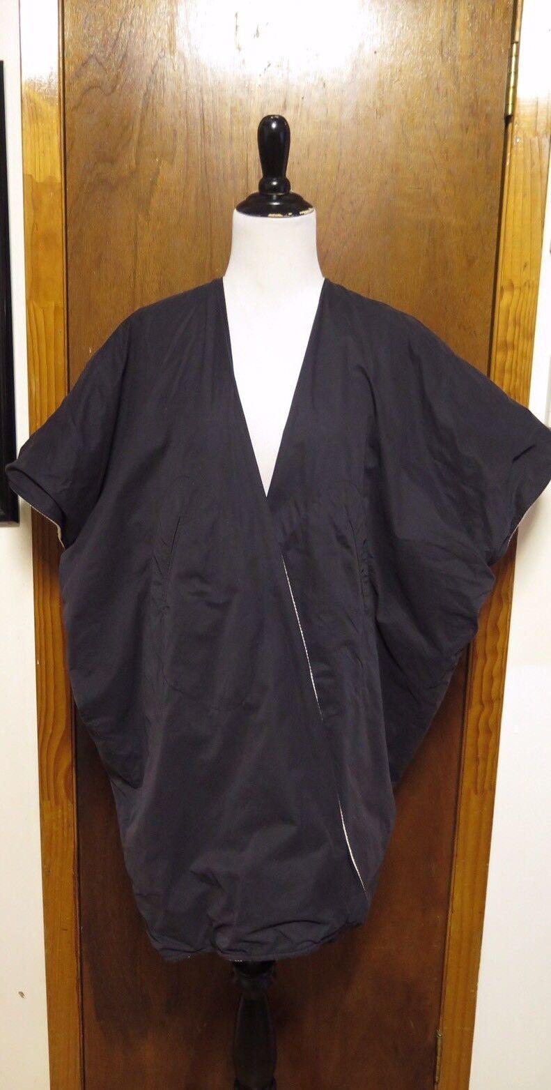 Zero Maria Cornejo Contrast Cotton Cotton Cotton Reversible Open Kimono Coat Sz SM b897aa