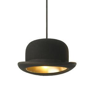 98e2e02fe6c New Modern Black Wool Hat Bowler Jeeves Pendant Light Ceiling Lamp ...