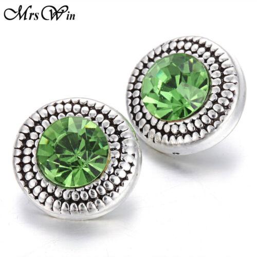 Nouveau 10pcs//lot strass 12 mm Snaps Boutons Fit Noosa bracelets bijoux