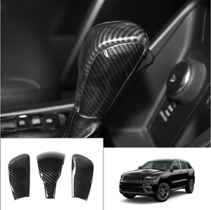 Carbon Fiber Style Gear Shift Knob Cover Trim Fit For Grand Cherokee 2014 2015