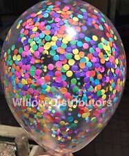 3x Clear Confetti Balloons Rainbow Unicorn Party Decorations 1st Birthday