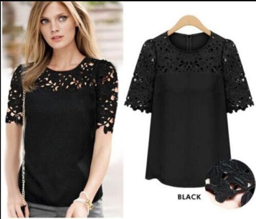 Women Fashion Shirt Loose Summer Chiffon Blouse Short Sleeve Ladies T-Shirt Top
