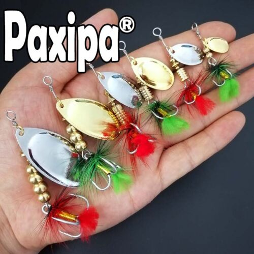Lot 5x New Fishing Spinners Lures Metal Spoon Bass Hard Bait Treble Hooks Tackle