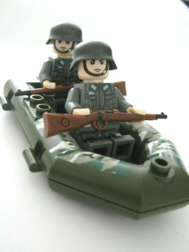 WW2 Deutsche Soldaten mit Schlauchboot grün Lego kompatibel