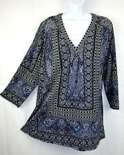 Lucky Brand Women's Plus 1X Top Blue Border Print V-neck Blouse Shirt Tunic NWT