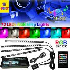 4pcs 72 Led Car Interior Usb Music Light Lights Strip Wireless Ir Remote Control