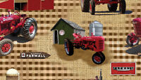 Fabrique Innovations International Tractors And Barns On Brown Cotton Fabric Bty