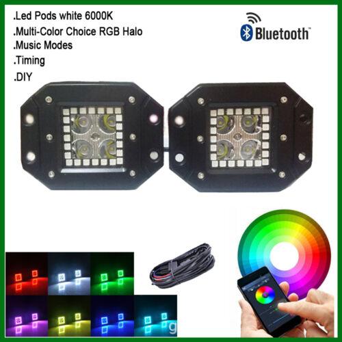 "Set 2pcs Flush Mount Cube 3/"" Pods Reverse Lamp with RGB Halo Ring Bluetooth"