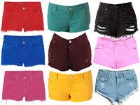 Ladies Hot Pants Casual Summer Beach Shorts - Ripped Denim - Size UK 8 10 12 14