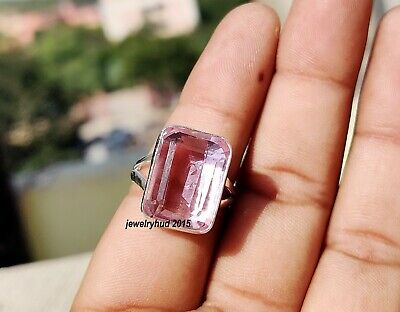 925 Sterling Solid Silver Natura Lemon Quartz GemStone Ring Gift Jewelry AllSize