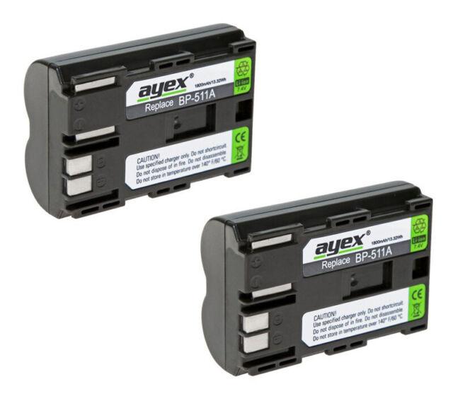 2 x ayex® BP-511A Li-Ion Akku für Canon EOS 1D, 5D, 30D, 40D, 50D, D30, D60