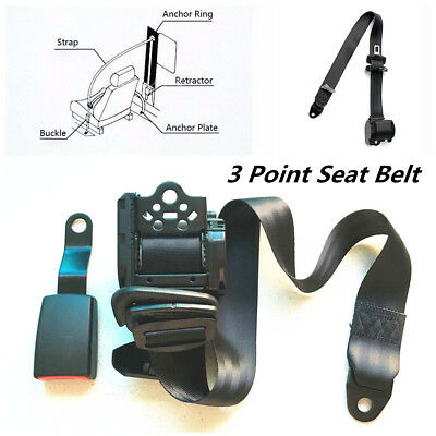 1Set Black 3 Point Adjustable Car Seat Belt Lap /& Diagonal Belt Iron Plate Style