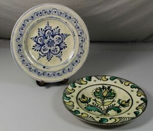 A7-2x-Older-Wall-Plate-Ceramics-Majolika-Faience-or-Sim-31-5-CM-S180