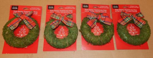 """Christmas Picture Ornament Frames 4ea Photo Opening 2.2/"""" x 2.2/"""" Moss Wreath 90S"""