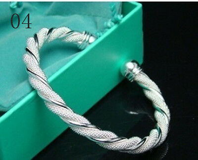 Wholesale New Fashion Jewelry 925Sterling Silver Charm Chain Bracelet Bangle+Box