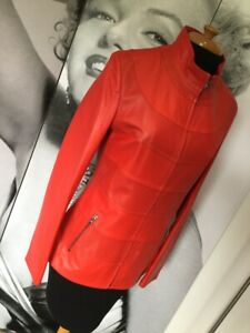 BNWOT-Gorgeous-Bright-Red-100-Lamb-Leather-Fitted-Jacket-MOD-60s-Retro-S