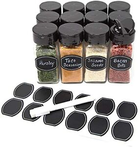 Glass clear square spice jars with sleek Black sifter lid 4oz in case of 12