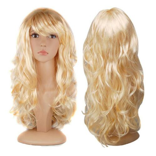 WOMENS LADIES LONG WAVY CURLY FANCY DRESS COSPLAY WIGS POP PARTY COSTUME