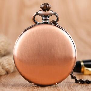 Vintage Smooth Red Copper Quartz Pocket Watch Women Men Pendant Fob Chain Gift