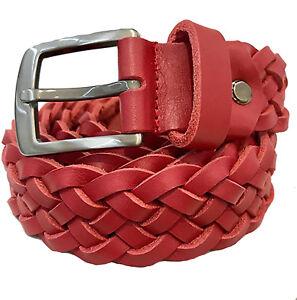 Cinturón Piel Trenzada Cuero Trenzado Lavada Paul.hide Italia Ancho 3,5 cm Rojo