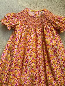 READY TO SMOCK PURPLE FLOWER PRINT BISHOP DRESS SIZES 3MOS TO 6T