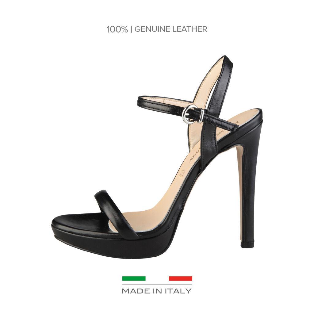 MADE in ITALIA Sandali 100% in Pelle Mod. MARCELLA black Lucido Tacco Alto 12 cm