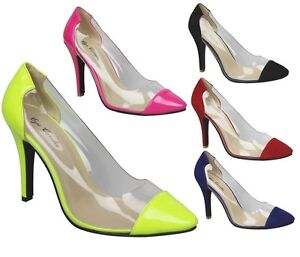 New Women s Clear Pointed Cap Toe Pumps Stiletto Five Colors   Neon ...