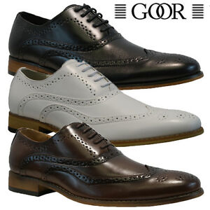 Image Is Loading New Mens Faux Leather Italian Casual Formal Brogue