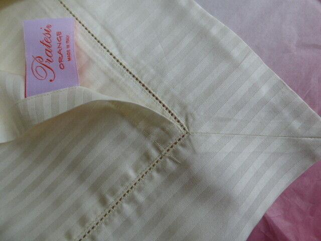 Pratesi angel skin cream Damask cotton sheet & fitted sheet & pillow cases shams