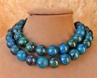 AZURITE MALACHITE TURQUOISE NECKLACE BLUE ISH GREEN CHUNKY MULTI STRAND Flat Gem